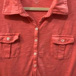 Old Navy Tops - OLD NAVY Henley Shirt with Collar in pretty peach!
